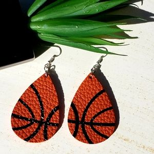 Basketball 🏀 faux leather earrings!